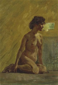 nude woman seated by hovsep pushman