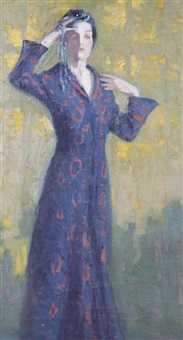 woman in blue dress by george raab