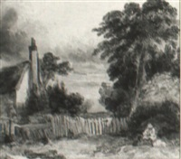a figure and dog on an isle of wight lane by samuel austin
