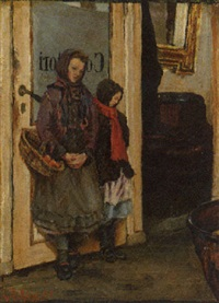 a mother and her daughter in a doorway by lauritz andersen