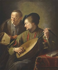 two men playing the lute and singing beside a table in an interior by jacques des rousseaux