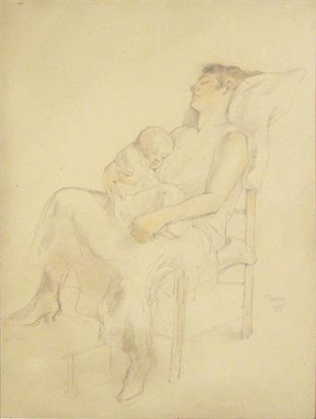 femme et enfant endormis by armand rassenfosse