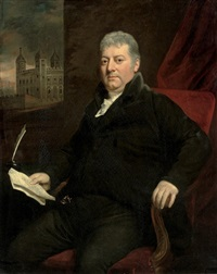 portrait of sir daniel williams, colonel of the tower hamlets militiain a black suit by john opie