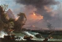 scène de naufrage sur un rivage méditerranéen by jean henry d' arles