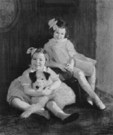 portrait of two young girls with their dog by lydia field emmet