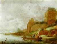 a river landscape with fishermen in a rowboat on a river by maerten fransz van der hulst