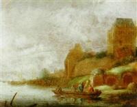 a river landscape with fishermen in a rowboat on a river by maerten fransz van der hulst