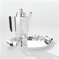 silver style cocktail shaker and tray by k.e.m. weber