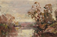 winter on the river ivanhoe (+ beach scene; verso) by norman macgeorge