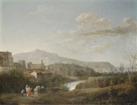 a classical landscape with figures by jules cesar denis van loo