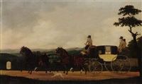 a stagecoach in an extensive landscape by john cordrey