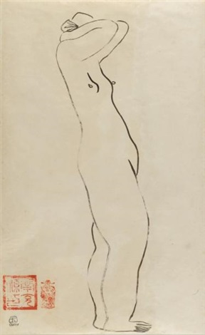femme nue de profil bras levés by sanyu