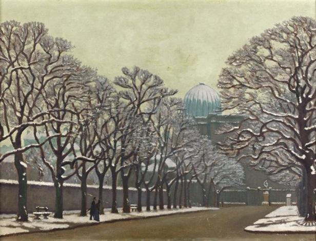 le dôme de lobservatoire et le jardin du luxembourg en hiver by charles lacoste