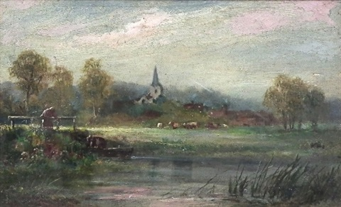 rural landscape looking towards a church by james aumonier