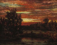 winter sunset, east hampton by arthur turnbull hill