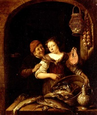 interior with a young kitchen maid holding a large bowl of assorted fish, other fish on a ledge, with a tankard, eggs hanging in a basket and a bunch of onions, a peasant holding a large salmon steak by gerrit (gerard) battem