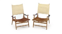 a pair of maple, leather and canvas chairs, 1950s by jacques adnet