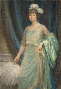 portrait of mrs norman holbrook, in a turquoise dress and a white fan by frank dicksee