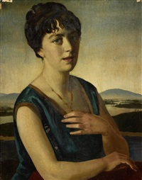 portrait of a woman with landscape beyond by gerald leslie brockhurst
