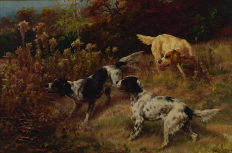 three setters on the hunt by edmund henry osthaus