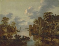a river landscape with fishermen on the left bank and rowing boats and other figures near a walled town by the canal by klaes molenaer