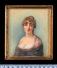 a lady, wearing salmon pink dress over white shift and black gauze shawl by horace hone