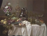 grapes and peaches in a wan-li porcelain bowl, roemers on a pewter platter, peonies, roses and other flowers in a vase on a wooden box, with pears by cornelis cruys