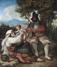 a shepherd playing a tune to his baby by louis (julius ludwig) asher