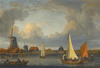 a river landscape with fishermen in rowing boats, windmills beyond by jacobus storck