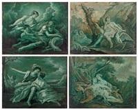 suite de quatre grisailles en vert (4 works) by françois boucher