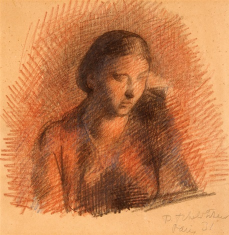 bust portrait of seated woman by pavel tchelitchew