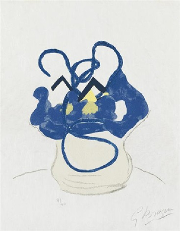 bouquet fleurs bleues (from guillaume apollinaire. si je mourais là-bas) by georges braque