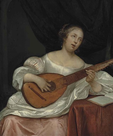 a woman playing a bandora by eglon hendrik van der neer