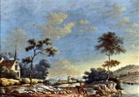 flußlandschaft mit einem reiter by johann sebastian müller