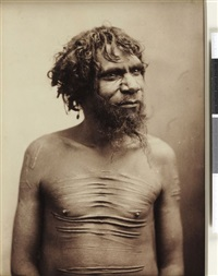 portraits en buste d'une femme (+ homme aborigène du queensland; 2 works) by henry king