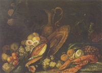 still life with lobster, fruit and precious objects by t. mertens