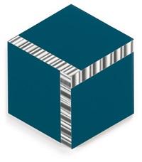 cubo virtuale su blu by getulio alviani