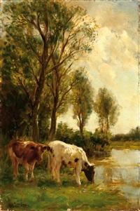 two cows by the water by fedor van kregten