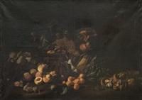 nature morte aux champignons, épis de maïs et fruits by michelangelo di campidoglio