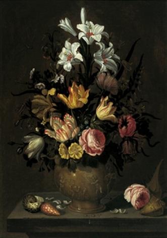 ein blumenstrauß von tulpen rosen lilien und anderen blüten in einer figural geschmückten tonvase auf einer steinernen tischplatte mit seltenen muscheln by abraham bosschaert