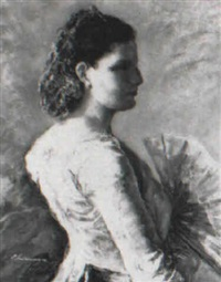 dama goyesca con abanico by ernest santasusagna santacreu