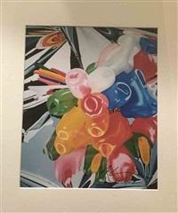 photographie de l'œuvre tulips réalisé par lui-même entre 1995 et 1998 by jeff koons