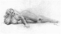 voluptuous lounging woman by roy krenkel
