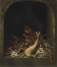 a hare, pheasants, partridge, the head of a boar and other game in an arched stone window, with a hunting horn, a musket, powder kegs... by jacobus biltius