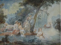 bathers in a river with two men in a rowboat behind by antoine louis françois sergent-marceau
