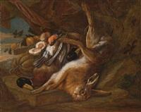 jagd- und früchtestillleben by adriaen de gryef