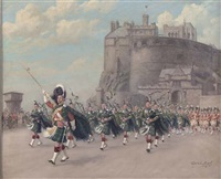 parade of the band of the gordon highlanders, before edinburgh castle by conrad leigh