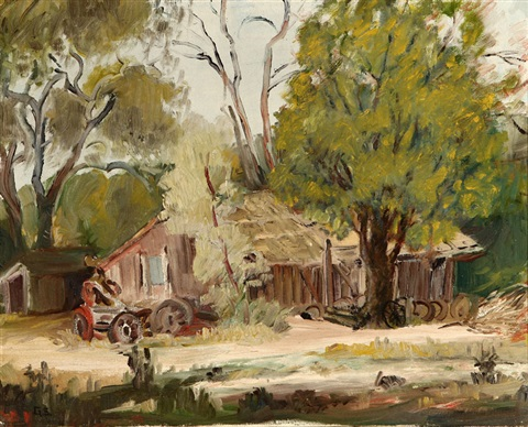 barn in an autumn landscape by george gardner symons