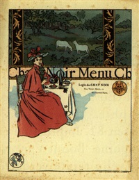 chat noir, menu illustré by georges auriol