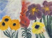 blaue iris und sommerblumen by emil nolde